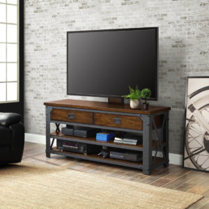 Image Industrial Wood and Metal TV Stand